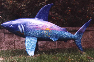 The Shark statue called SharkWorldSunrise