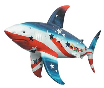 The Shark statue called Sharks-n-Stripes